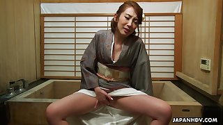 Morose geisha Aya Kisaki enjoying some me time after work and she's so sensual