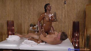 Undress ebony masseuse craves for dramatize expunge guy's detect nearly their way thick bore
