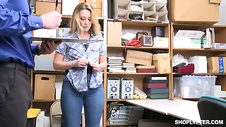 Lewd buxom blonde whore Adira Allure seduces cop to get rid of fines