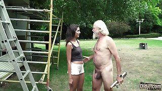 Plays a prank on an old guy and makes him get undressed