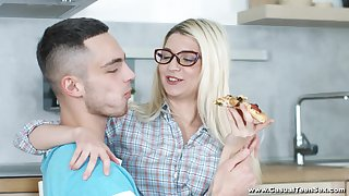 Sweet blonde Cornelia enjoys pussy licking by her show one's age in the kitchen