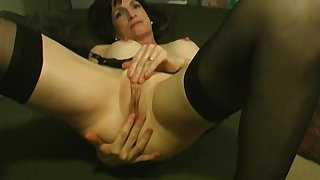 Beautiful brunette mature has her shaved pussy licked and fingered