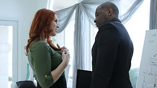 Paleface ginger milf Edyn Blair goes black and gets a mouthful of cum