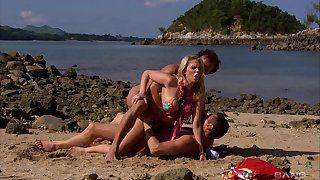 Blonde wife gets laid by the coast with yoke horny men