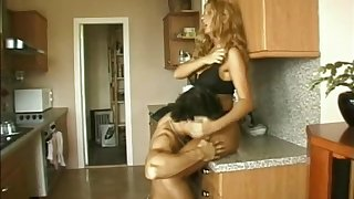 Naughty porn cowgirl gets fucked hard doggystyle in the kitchen