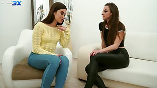 Sexy travel soul Alyssa Reece is seduced hard by girl for kinky lesbian sex