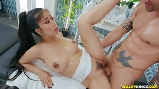 Lucky masseur Alex Legend fucked Puncture Kush on the couch