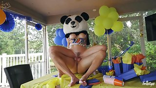 Crazy blonde toddler Cory Chase fucked in the public place overwrought a masked man