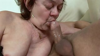 Hungarian Granny GILF nailed to stockings - ugly euro porn round cumshot