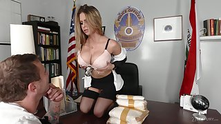 Busty officer Rachel Roxxx gets a mouthful of cum after crazy sex in the office